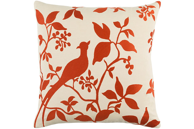 "Kingdom Birch Cream 18"" Throw Pillow, Ivory/Red, large"