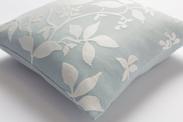 "Kingdom Birch Light Gray 18"" Throw Pillow, Light Blue/Ivory, large"