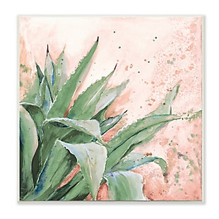 Stupell Green Succulent Plant Leaves Contemporary Paint Splatter 12 x 12 Wood Wall Art, , large