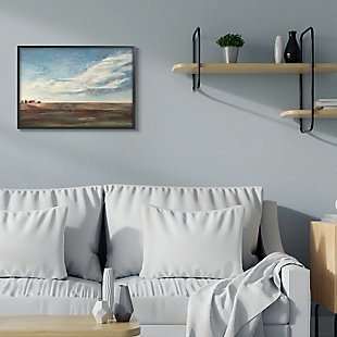 Stupell Cloudy Country Landscape Distant Town Earth Tones 24 X 30 Framed Wall Art, Blue, rollover
