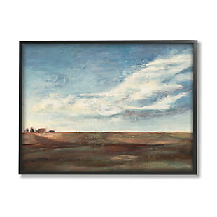 Stupell Cloudy Country Landscape Distant Town Earth Tones 24 X 30 Framed Wall Art, Blue, large
