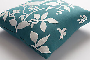 "Kingdom Birch Teal 18"" Throw Pillow, Teal/Ivory, large"