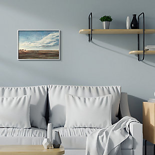 Stupell Cloudy Country Landscape Distant Town Earth Tones 16 X 20 Framed Wall Art, Blue, rollover
