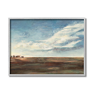 Stupell Cloudy Country Landscape Distant Town Earth Tones 16 X 20 Framed Wall Art, Blue, large