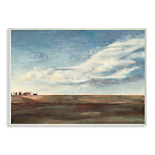 Stupell Cloudy Country Landscape Distant Town Earth Tones 13 x 19 Wood Wall Art, Blue, large