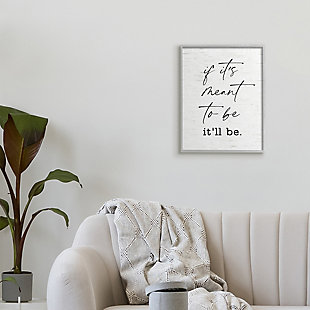 Stupell Meant To Be Motivational Quote Charming Script 16 x 20 Framed Wall Art, White, rollover