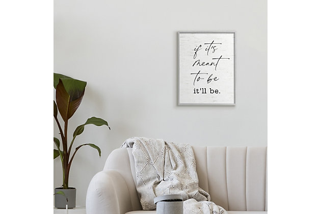 Stupell Meant To Be Motivational Quote Charming Script 16 x 20 Framed Wall Art, White, large