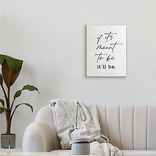 Stupell Meant To Be Motivational Quote Charming Script 13 x 19 Wood Wall Art, White, rollover