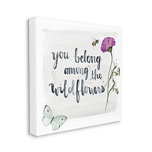 Stupell Belong Among The Wildflowers Butterfly Bee Floral 36 X 36 Canvas Wall Art, Gray, large