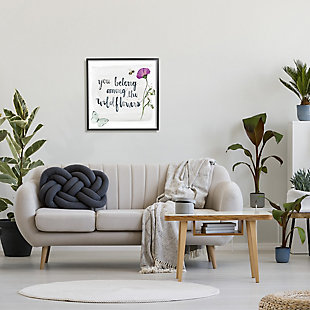 Stupell Belong Among the Wildflowers Butterfly Bee Floral 24 x 24 Framed Wall Art, Gray, rollover