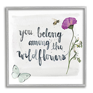 Stupell Belong Among the Wildflowers Butterfly Bee Floral 24 x 24 Framed Wall Art, Gray, large