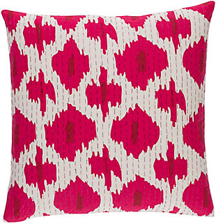 "Kantha Bright Pink 22"" Throw Pillow, , large"
