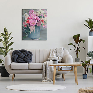 Stupell Pink Floral Arrangement Soft Focus Grey Pot 30 x 40 Canvas Wall Art, Pink, rollover