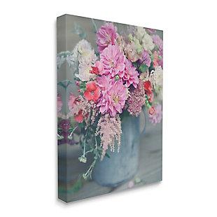 Stupell Pink Floral Arrangement Soft Focus Grey Pot 30 x 40 Canvas Wall Art, Pink, large