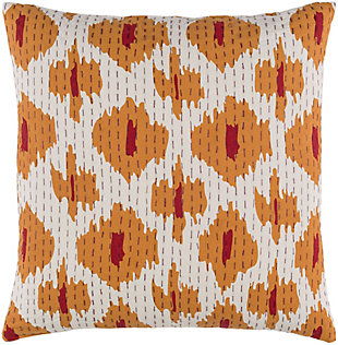 "Kantha Burnt Orange 20"" Throw Pillow, , large"