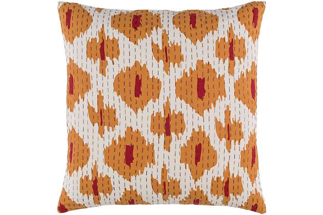 """Kantha Burnt Orange 20"""" Throw Pillow, , large"""