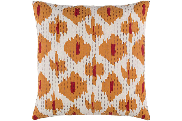 "Kantha Burnt Orange 22"" Throw Pillow, , large"