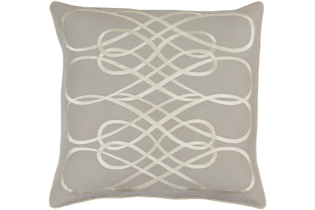 "Kash Ribbon Design 18"" Throw Pillow, , large"