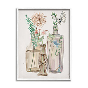 Stupell Spring Meadow Bouquets Country Glasses Butterfly Florals 24 x 30 Framed Wall Art, Beige, large