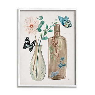 Stupell Butterfly Blooming Floral Jars Tranquil Flower Still-Life 24 x 30 Framed Wall Art, Beige, large