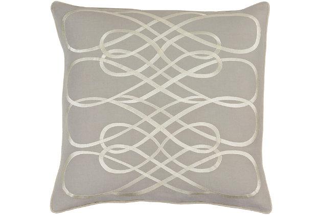 """Kash Ribbon Design 22"""" Throw Pillow, , large"""