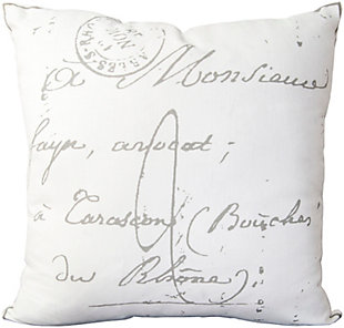 "Montpellier French Script Print 18"" Throw Pillow, , rollover"