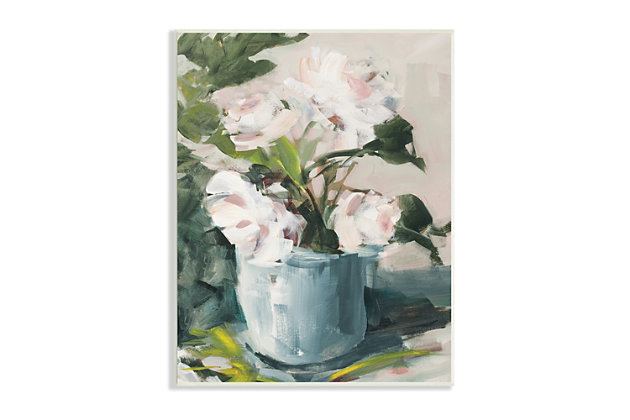 Stupell Impressionist Potted Flowers Green Leaves Pink Petals 13 x 19 Wood Wall Art, Green, large