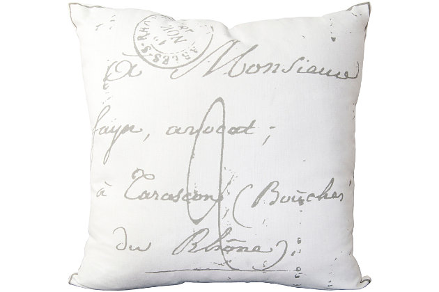 "Montpellier French Script Print 22"" Throw Pillow, , large"