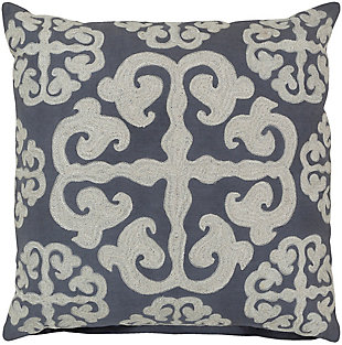 """Madrid Embroidered 18"""" Throw Pillow, Navy/Cream, rollover"""