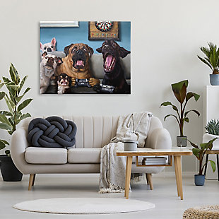 Stupell Funny Dogs Playing Video Games Livingroom Pet Portrait 36 X 48 Canvas Wall Art, Blue, rollover
