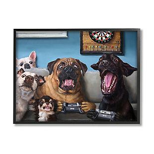 Stupell Funny Dogs Playing Video Games Livingroom Pet Portrait 24 x 30 Framed Wall Art, Blue, large