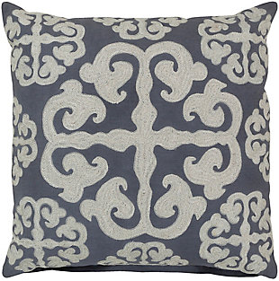 "Madrid Embroidered 22"" Throw Pillow, , rollover"