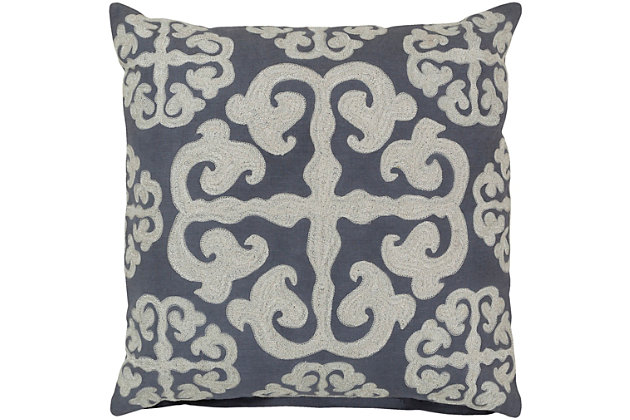 """Madrid Embroidered 22"""" Throw Pillow, , large"""