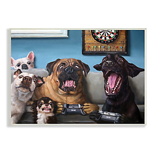 Stupell Funny Dogs Playing Video Games Livingroom Pet Portrait 13 x 19 Wood Wall Art, Blue, large