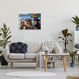 Stupell Funny Dogs Playing Video Games Livingroom Pet Portrait 24 x 30 Framed Wall Art, Blue, rollover