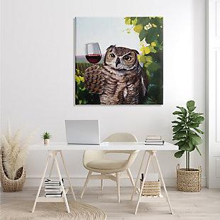 Stupell Great Horned Owl Drinking Red Wine Vineyard Bird 36 X 36 Canvas Wall Art, Green, rollover