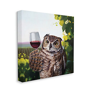 Stupell Great Horned Owl Drinking Red Wine Vineyard Bird 36 X 36 Canvas Wall Art, Green, large