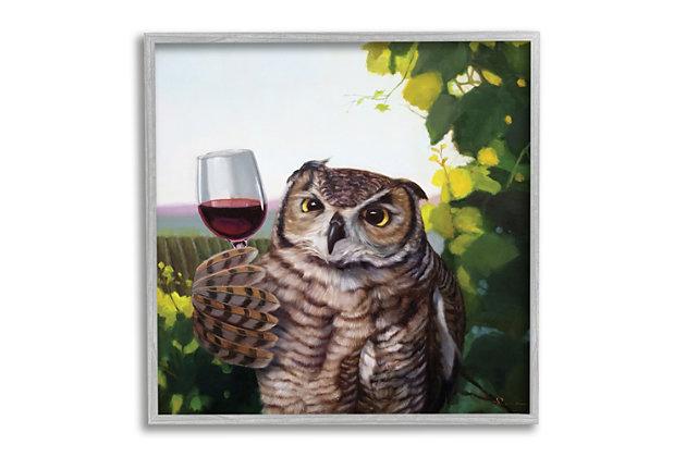 Stupell Great Horned Owl Drinking Red Wine Vineyard Bird 24 x 24 Framed Wall Art, Green, large