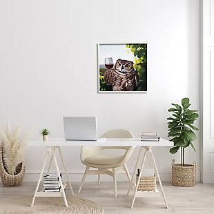 Stupell Great Horned Owl Drinking Red Wine Vineyard Bird 24 X 24 Framed Wall Art, Green, rollover