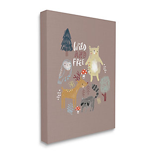 Stupell Wild And Free Kid's Forest Beer Owl Racoon 36 X 48 Canvas Wall Art, Brown, large