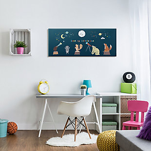 Stupell Look Up Little One Forest Animals Under Starry Sky 20 X 48 Canvas Wall Art, Blue, rollover