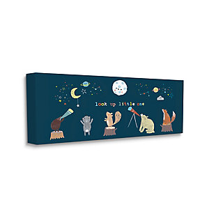 Stupell Look Up Little One Forest Animals Under Starry Sky 20 X 48 Canvas Wall Art, Blue, large