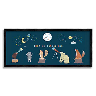 Stupell Look Up Little One Forest Animals under Starry Sky 13 x 30 Framed Wall Art, Blue, large