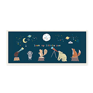 Stupell Look Up Little One Forest Animals under Starry Sky 7 x 17 Wood Wall Art, , large