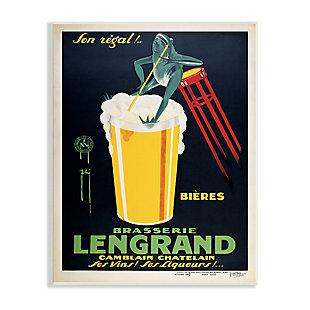 Stupell Vintage Brasserie Lengrand European Advertisement Frog Beer 13 x 19 Wood Wall Art, Yellow, large