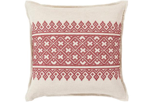 """Pentas Woven Print 18"""" Throw Pillow, , large"""