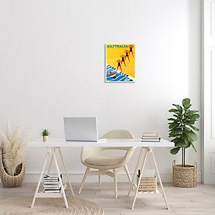 Stupell Retro Pop Australian Surf Club Advertisement Yellow Blue 13 x 19 Wood Wall Art, Yellow, rollover
