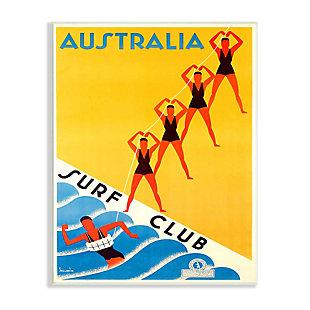 Stupell Retro Pop Australian Surf Club Advertisement Yellow Blue 13 x 19 Wood Wall Art, Yellow, large