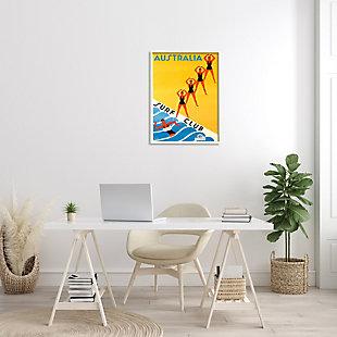 Stupell Retro Pop Australian Surf Club Advertisement Yellow Blue 24 X 30 Framed Wall Art, Yellow, rollover