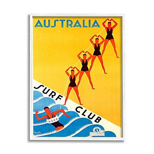 Stupell Retro Pop Australian Surf Club Advertisement Yellow Blue 24 X 30 Framed Wall Art, Yellow, large
